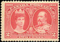 Mint H Canada F+ Scott #98 2c 1908 Quebec Tercentenary Issue Stamp