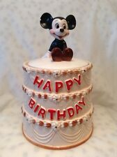 "REPAIRED ""RARE"" 1978 MICKEY MOUSE HAPPY BIRTHDAY CAKE COOKIE JAR REPAIRED"