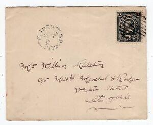 Newfoundland - Brigus 1893 Split Ring via Railway TPO - Cover to St Johns -