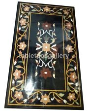 3'x2' Black Marble Dining Table Top Precious Floral Inlay Furniture Decors B701
