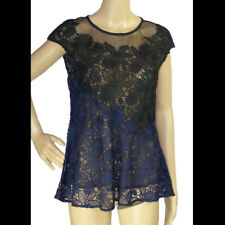 ANTHROPOLOGIE  DELETTA Black Navy Top SMALL Lace Top Cap Sleeves Lined