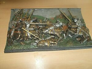 Heavy Vintage Battle Scene With Protruding Knights Made Of Dried Porcelain/Resin