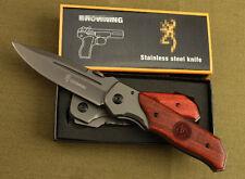 Red acid Wood Handle BRN Knife Saber Outdoor Camping Hunting Pocket Tool Gift