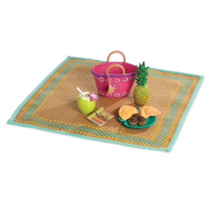 "American Girl LE LEA BEACH PICNIC SET for 18"" Dolls Mat Food Treats Plate NEW"