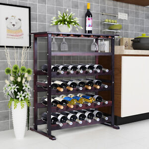 Wooden Wine Rack 24 Bottle Storage Cabinet Stand Shelf with Glass Holder Home