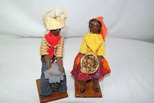 2 Vtg Haiti Black Ethnic Man Woman Souvenir Doll Lot 8.5in Cloth Handmade