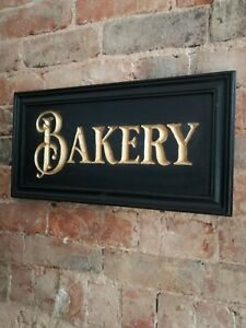 BAKERY sign carved wood gold black period vintage style wood sign bread VAC269