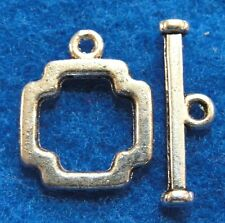 10Sets Tibetan Silver SQUARE Toggle Clasps Hooks Connectors Jewelry Finding C088