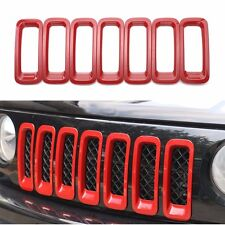 FOR 2011-2017 Jeep Patriot Red ABS Chrome Front Grill Grille Insert Trim Covers