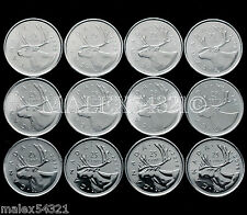 2006 TO 2016 COMPL. CARIBOU 25 CENTS SET UNC (12 COINS)>FREE $HIPPING IN CANADA<