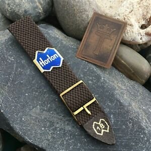 19mm Perlon Diver New Old 1960s/70s Vintage Watch Band Brown & Brass Buckle nos