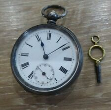 QUALITY ANTIQUE SOLID SILVER GENTS POCKET WATCH // WORKING WITH KEY