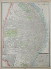 Original 1900 Streetcar Map ST. LOUIS Missouri Cotton Exchange Insane Asylum