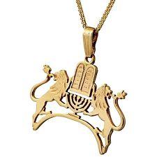 Deluxe 14K Yellow Gold Lion Of Judah 10 Commandments Menorah Judaica Men Pendant