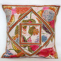 """Handmade Kantha Cushion Cover 40cm White Floral Patchwork Pillow Case Indian 16"""""""