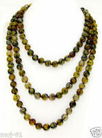 """8mm Natural Green Dragon Veins Agate Round Gemstone Beads Necklace 51"""" Long"""