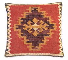 5 Set of Handwoven Kilim Cushion Cover 18x18 Decorative Jute Square Pillow Cases