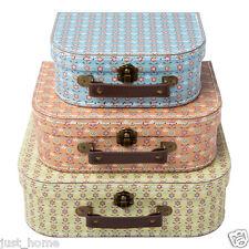 3 Summer Retro Suitcases Storage Boxes Box Bedroom Wedding Shabby Chic Suitcase