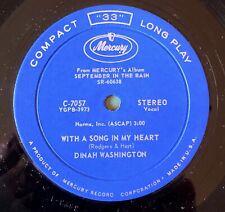 "Vintage 1961 Dinah Washington 7"" 33 RPM Dinah Washington 'Song in My Heart' EXMT"