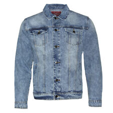 Mens Denim Jean Jacket Faded Premium Cotton Button Up Slim Fit  Red Label