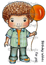 New La La Land Crafts LUKA WITH BALLOON Cling Rubber Stamp Boy Happy Birthday