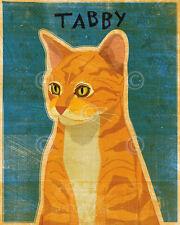 Tabby orange by John W. Golden Animal Cat Print Poster 11x14