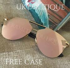 LUXE ROSE Gold PINK SUNGLASSES Mirrored AVIATOR SUNGLASSES CELEBRITY MARBS .58