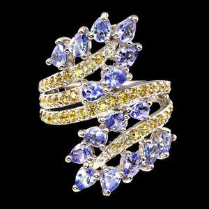 Unheated Pear Tanzanite Sapphire Diamond Cut 925 Sterling Silver Ring Size 8