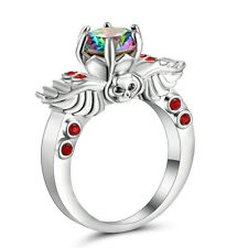 Size 8 Silver Platinum Plated Wedding Engagement Ring Anniversary Rainbow Topaz
