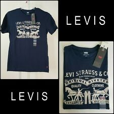 Levi's Men Casual Formal Short Sleeve Brand Logo T Shirt Size Small Blue