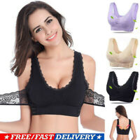 Front Cross Side Buckle Wireless Lace Bra Breathable Women Sport Yoga Crop Top