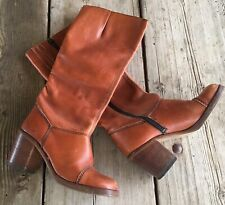 Vintage Boots Leather Hippie Boho Hippy High Heel 7 1/2 B 70s 80s 1970s