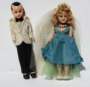 Vintage Hard Plastic Woman and Man Couple Dress & Tux Wedding Sleepy Eyes