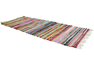 RAG RUG RUNNER recycled fabric handmade fair trade Indian 5ft / 150 x 55cm NEW!