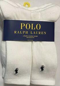 Polo Ralph Lauren Athletic 6-Pair Crew Socks White - Half Cushioned Sole Sz 6-12