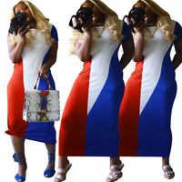 Summer Women Round Neck Colors Block Patchwork Casual Bodycon Club Party Dress