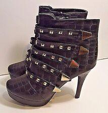 """Platform Studded Strapped Stiletto Snakeskin Black Ankle Boot by DOTS """"AVA"""" Sz 9"""