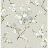 Wallpaper Designer White Light Blue Celadon Black Floral on Gray Faux