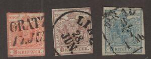 AUSTRIA    Sc. used  #3,4,5,  Imperfs.  'Coat of Arms'   1850