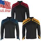 Admiral JL Picard Shirts Cosplay Male Startfleet Red Gold Blue Men Top Uniform