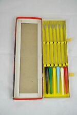 Vintage Fondue Fork Set of 6 Stainless Steel Colored Plastic Handles Retro NEW