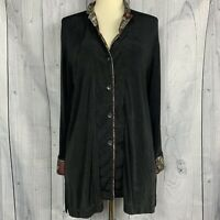 Chico's Travelers Woman's Black 3/4 sleeves Acetate cardigan Size 1 Cuff Details
