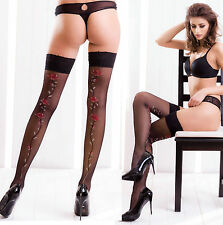 Size XS/S Black Thigh High Stay Up Stockings Nylons Silicone Band Floral Pattern
