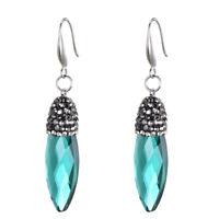 Silver Plated Long Emerald Green Oval Water Drop Dangling Drop Earrings E1447