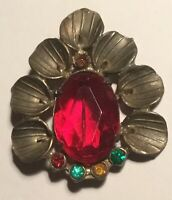 Vintage Art Deco Lily Flower Pin Brooch With Colorful Paste Stones