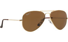 Brand New Ray Ban Aviator RB3025 001/57 Gold Frame Polarised Crystal Brown Lens