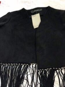 New . Zara Tassel Blazer Black Size medium