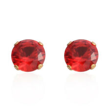 Simulated Gemstone In Goldtone Stud Earrings Ruby CZ Round 6 mm Faceted