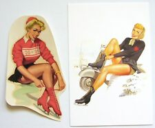 VESPA girls F. Mosca postcard and original 50s pinup waterslide Winter Olympics
