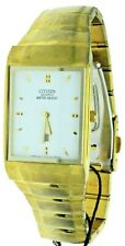 New Old Stock Rare Rectangular Citizen Date Gold Tone S.Steel Water-R Watch